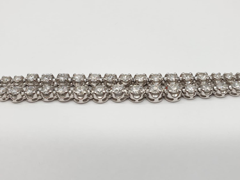 Platinum and Diamond Choker Necklace, double strand with graduated Diamonds (5ct Diamonds), 33g, - Image 7 of 9