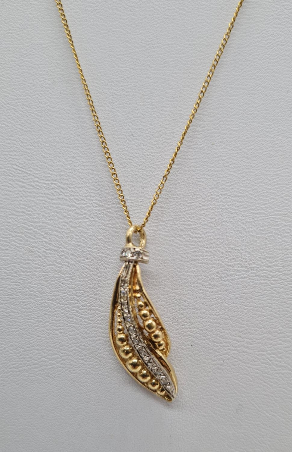 18ct gold diamond set pendant on chain, weight 3.69g and 40cm long, pendant 3 x 1cm - Image 3 of 9