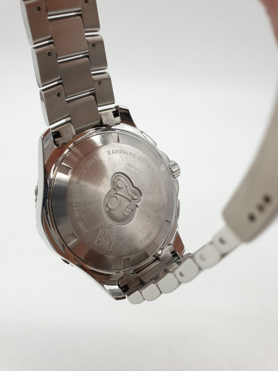 Tag Heuer gents chronograph Aquaracer watch, black face twisted bezel and steel strap, 44mm case - Image 7 of 14