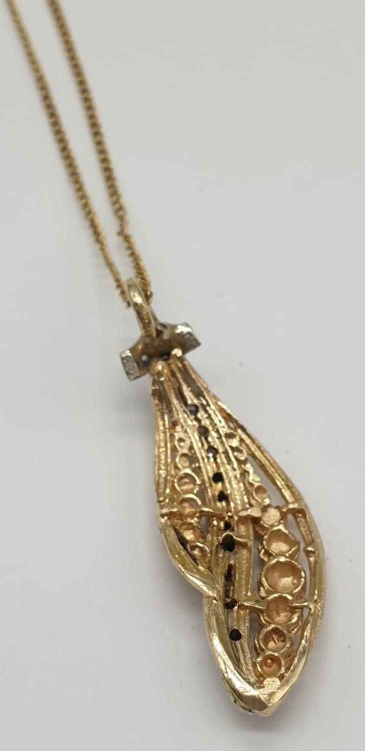 18ct gold diamond set pendant on chain, weight 3.69g and 40cm long, pendant 3 x 1cm - Image 5 of 9