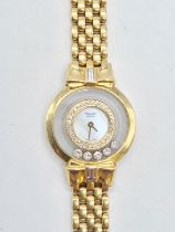 18ct gold Chopard ladies cocktail watch with 5 happy diamonds and diamond encrusted bezel, solid