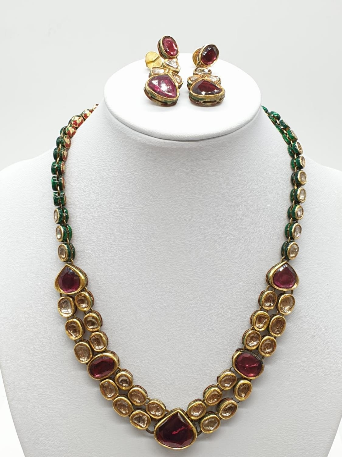 18k Indian set of Ruby and Rose Diamonds NECKLACE (40cm) and EARRINGS. 68g.