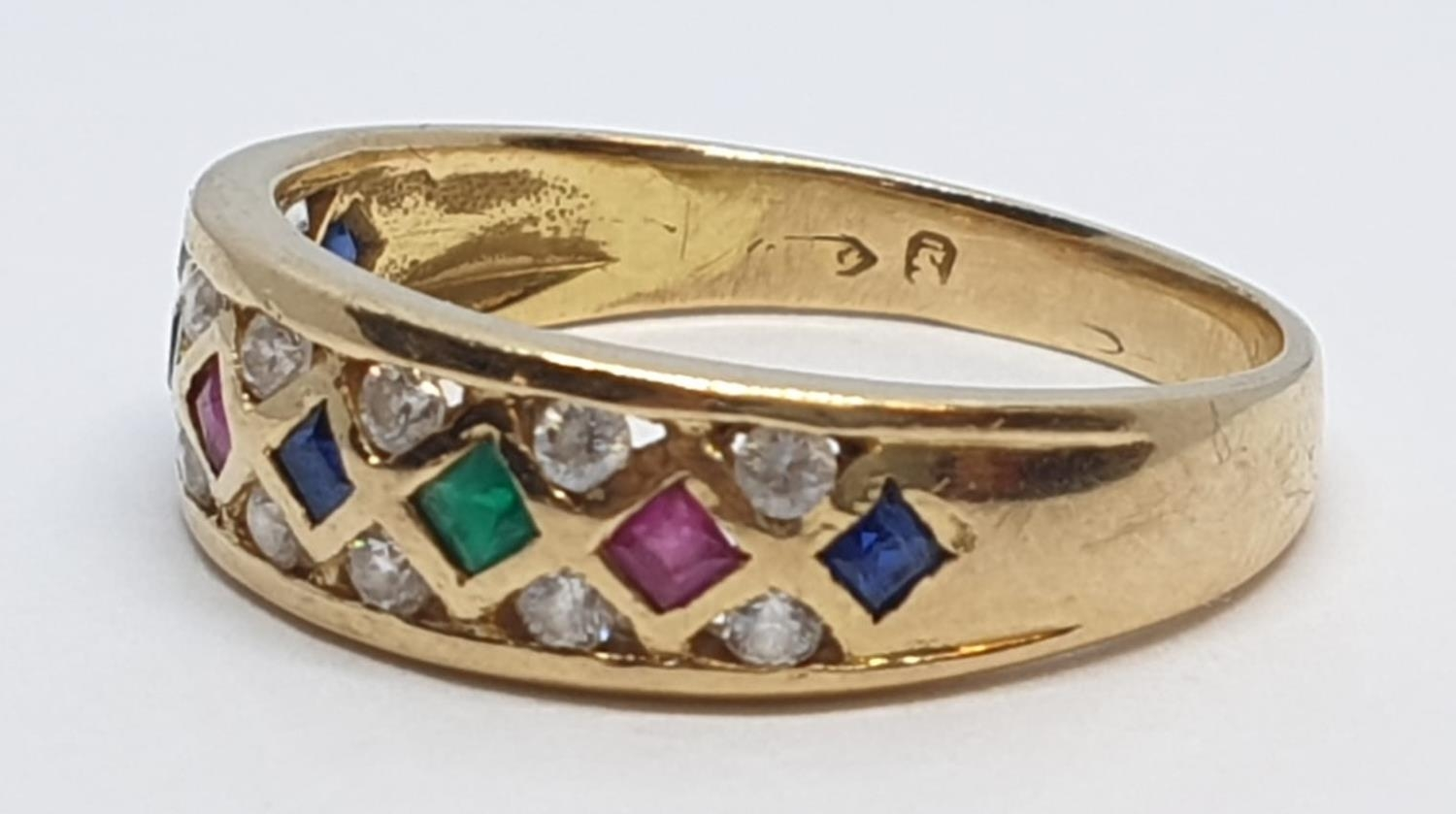18ct Yellow gold diamond ruby, sapphire and emerald set fancy ring. Weight 4.3g, Size S. - Image 3 of 10