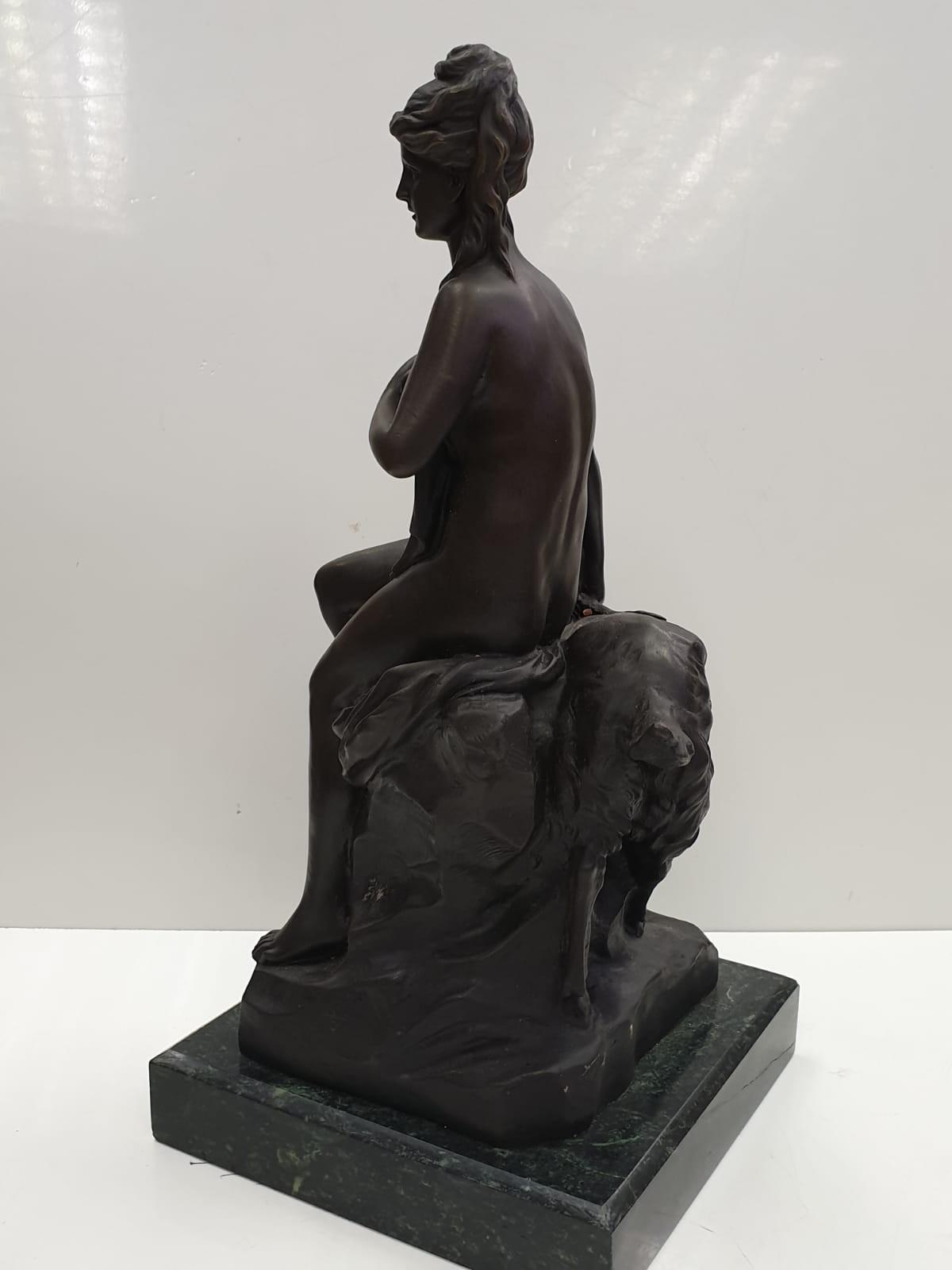 Bronze Pierre Julien figurine on plinth. 'Amalthea and Jupiter's Goat'. Height 45cm. Weight 9.7kg - Image 15 of 27