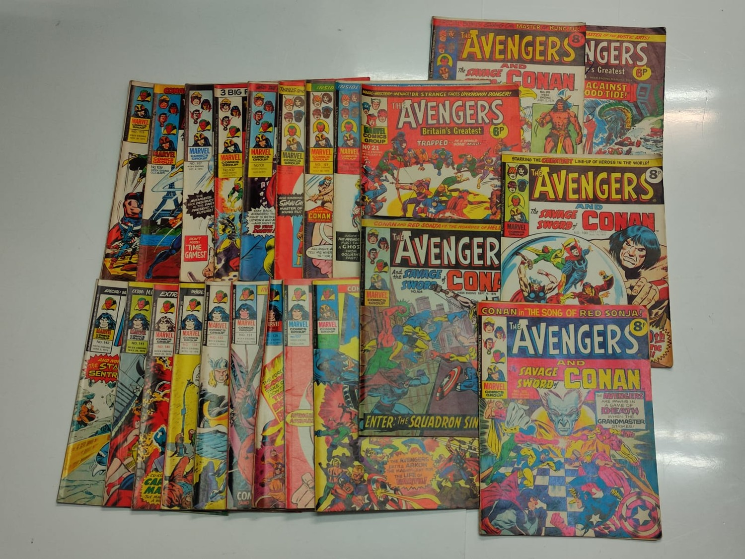 25 x Marvel comics. The Avengers. Dating from 1974-1976