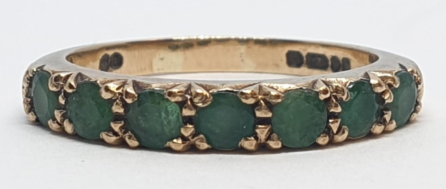 9ct Yellow gold emerald half eternity ring. Weight 2.8g, Size O. - Image 4 of 8