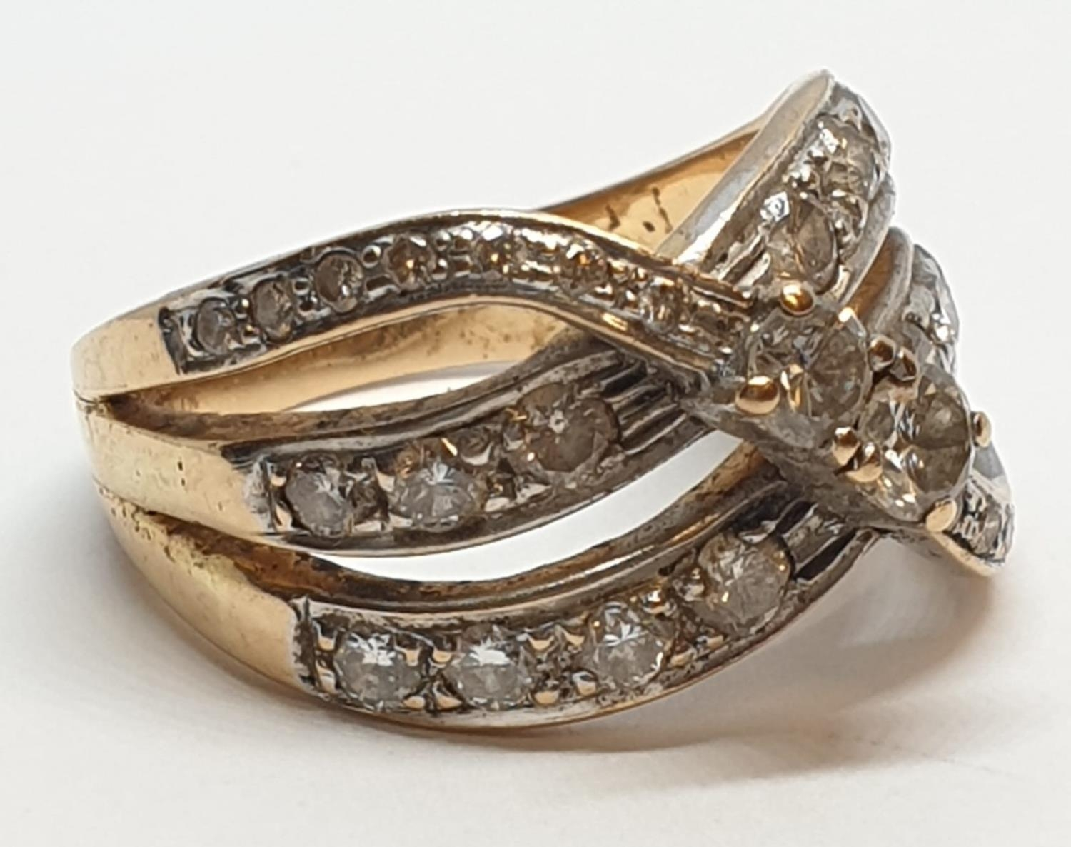 18ct Yellow gold diamond set fancy three row twist band ring. Weight 8.5g, Approx. 0.60ct of - Image 5 of 14