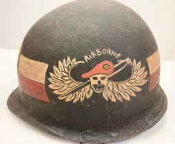 Vietnam War Era A.R.V.N Airborne Military Police M1 Helmet No Liner.