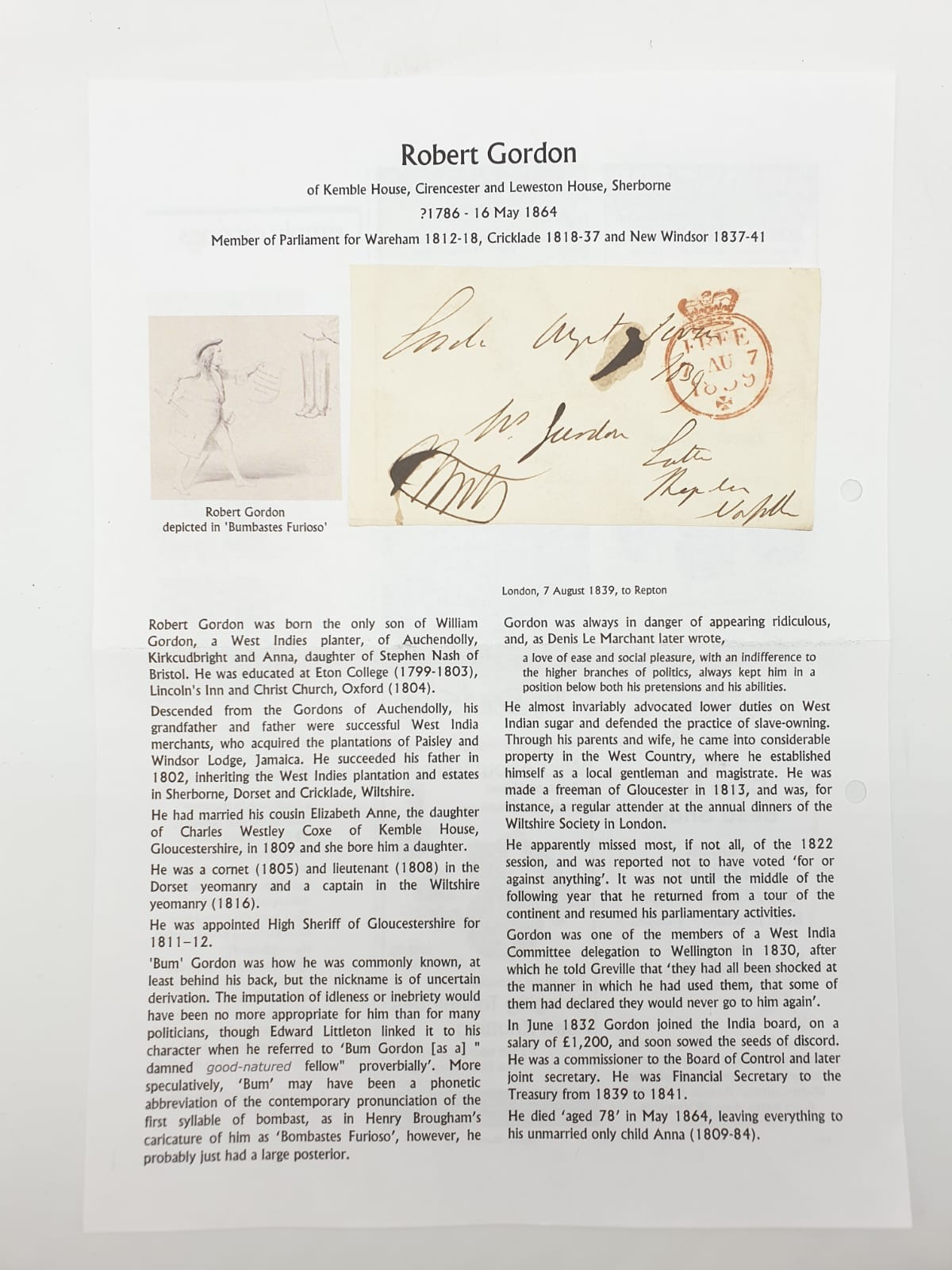 Five pre postage stamp letters by prominent people of the time (1830s) with manual stamp. - Image 4 of 5