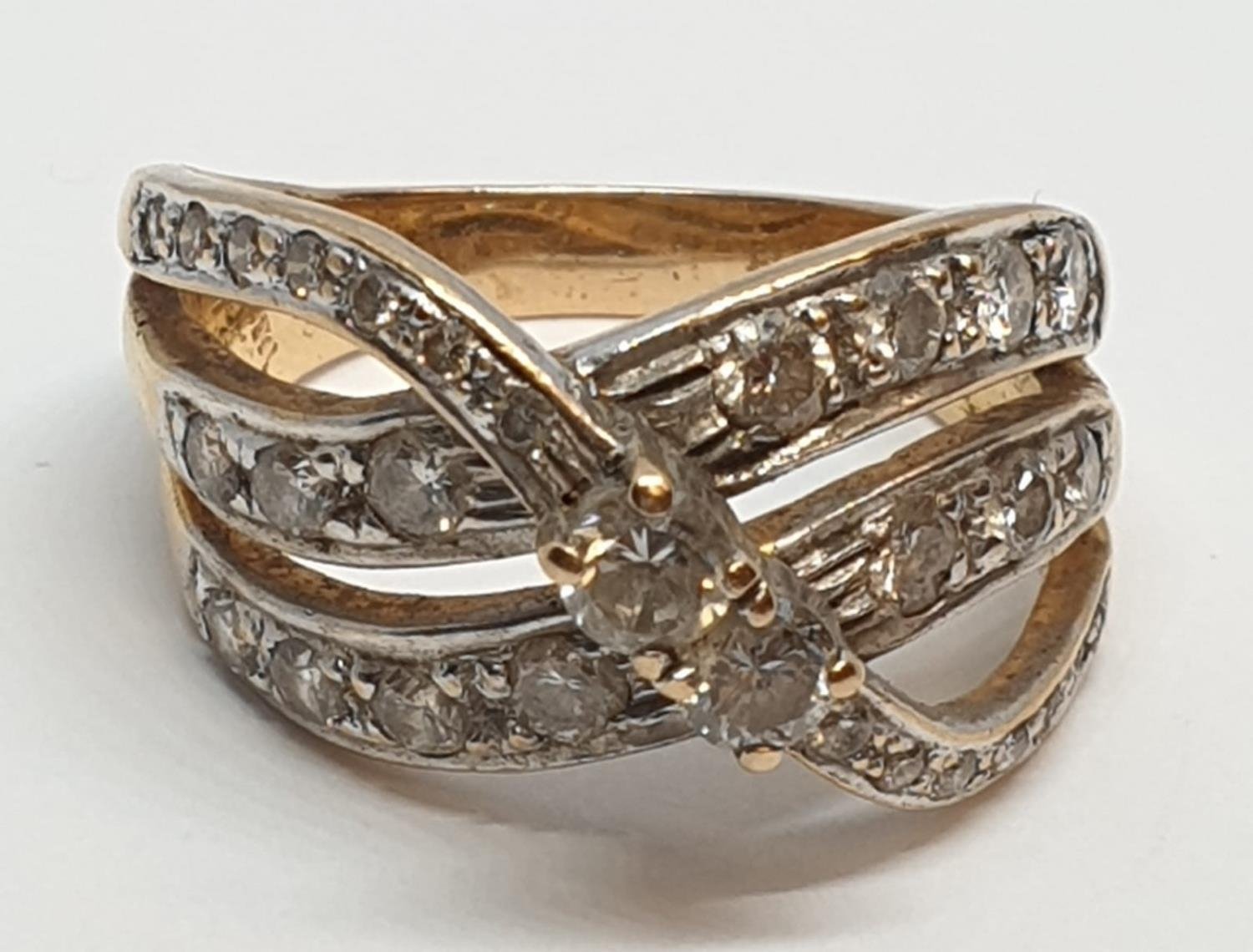 18ct Yellow gold diamond set fancy three row twist band ring. Weight 8.5g, Approx. 0.60ct of - Image 6 of 14