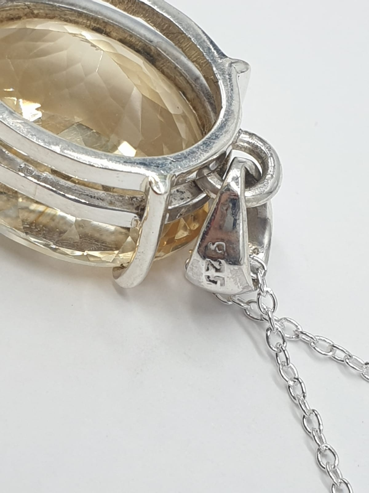 Citrine Gemstone Pendant set in Sterling Silver on a 40cm long silver chain, weight 10g approx and - Image 4 of 6