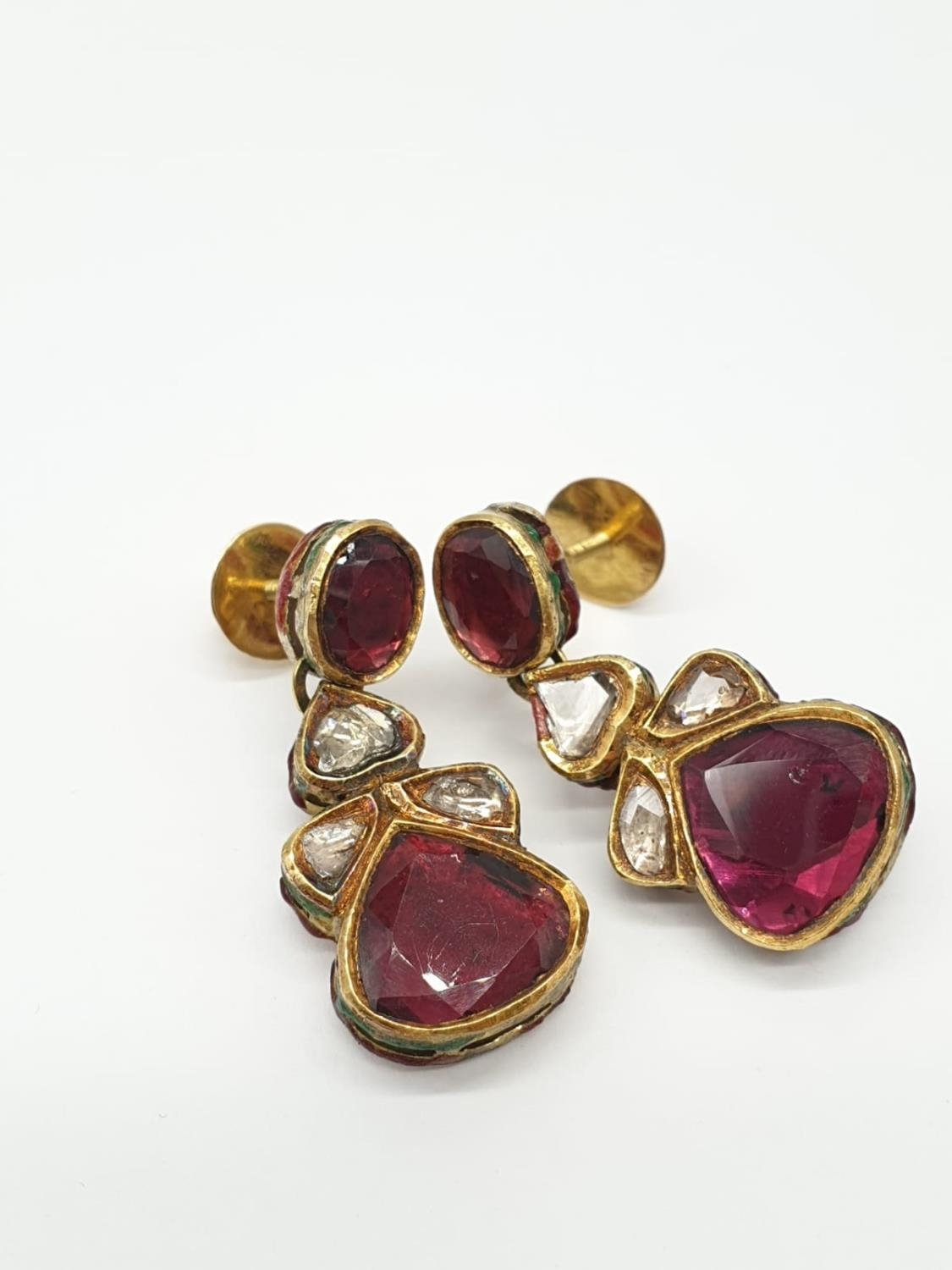 18k Indian set of Ruby and Rose Diamonds NECKLACE (40cm) and EARRINGS. 68g. - Image 9 of 9