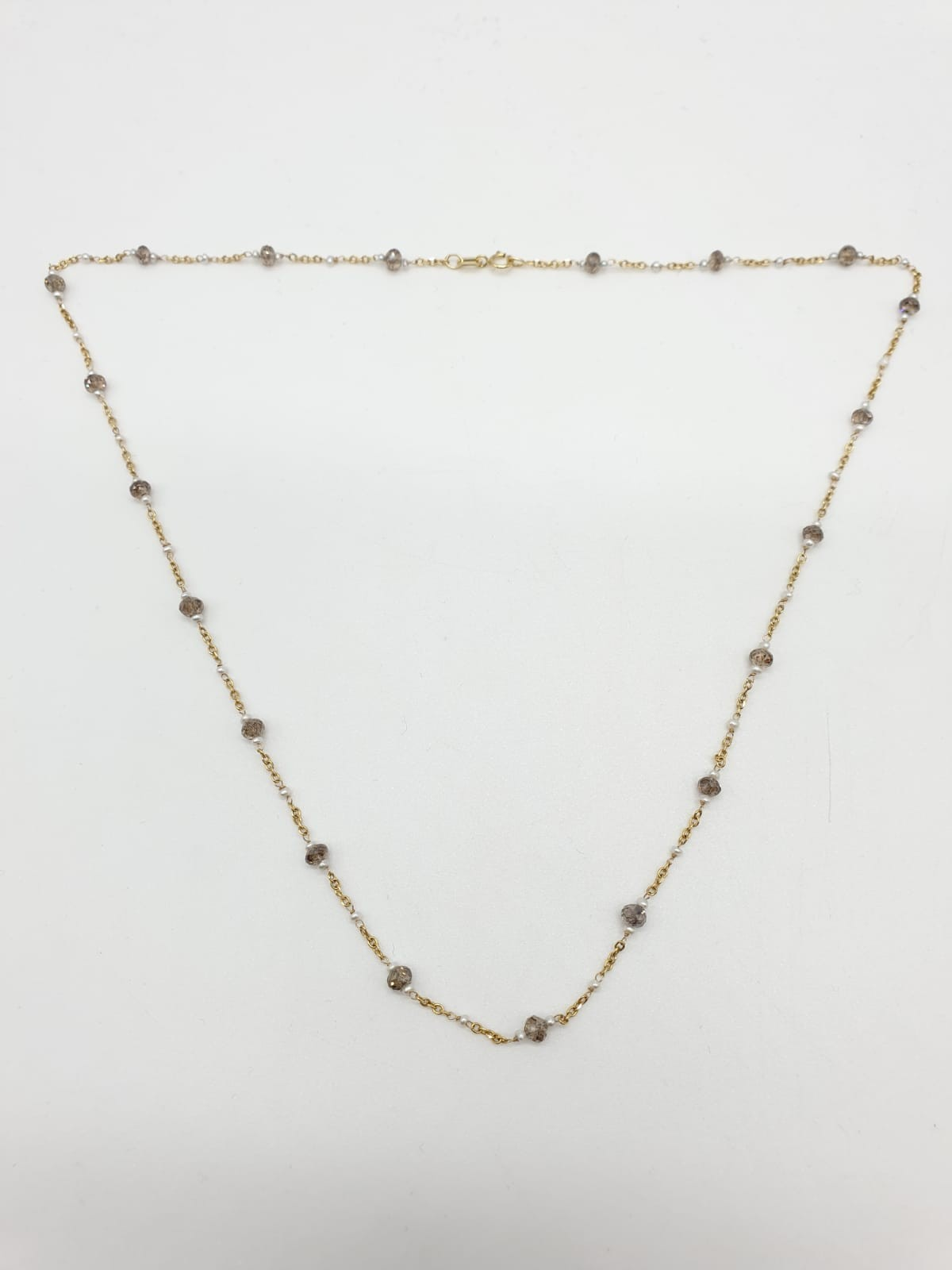 14ct gold brown diamond and pearl necklace with matching bracelet, total weight 5.6g and over 9ct - Image 4 of 6