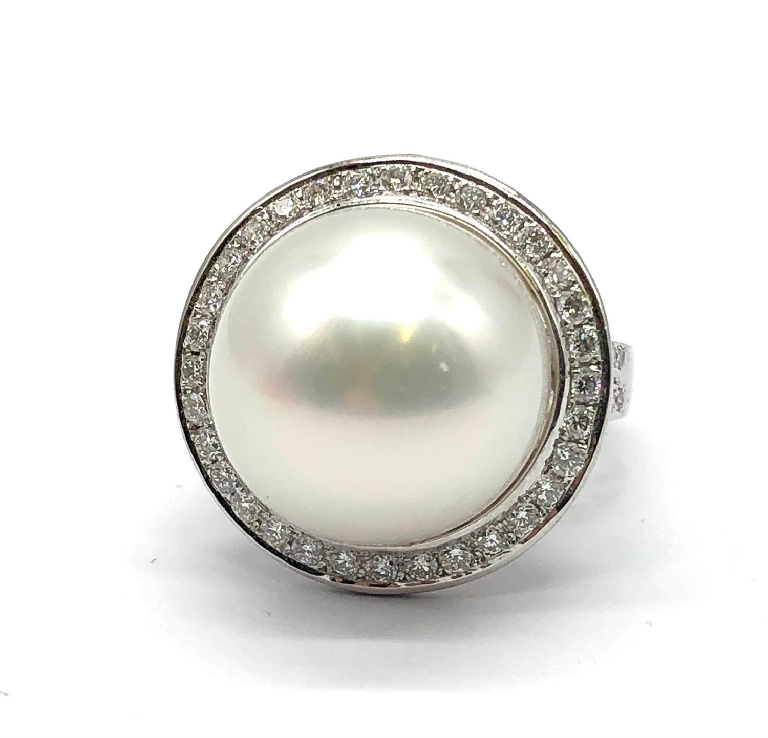 A large Kimoto pearl (17mm diameter) ring set in diamond and 18ct white gold ring, weight 14.43g and - Image 2 of 7