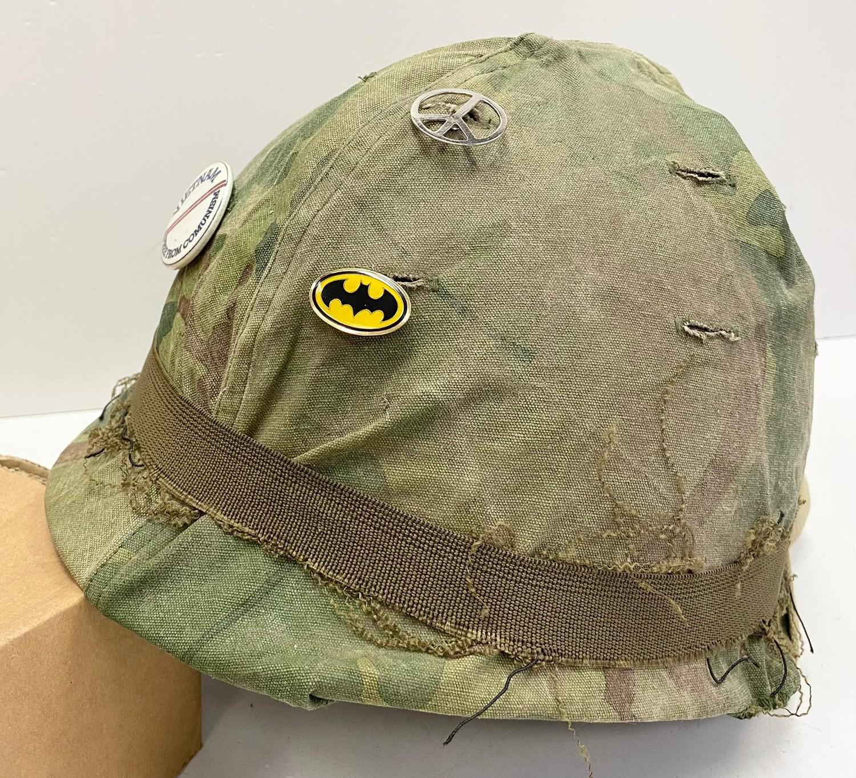 Vietnam War Era U.S.M.C Helmet. The Mitchel-Duck Hunter Reversible Helmet Cover is marked inside ? - Image 3 of 5