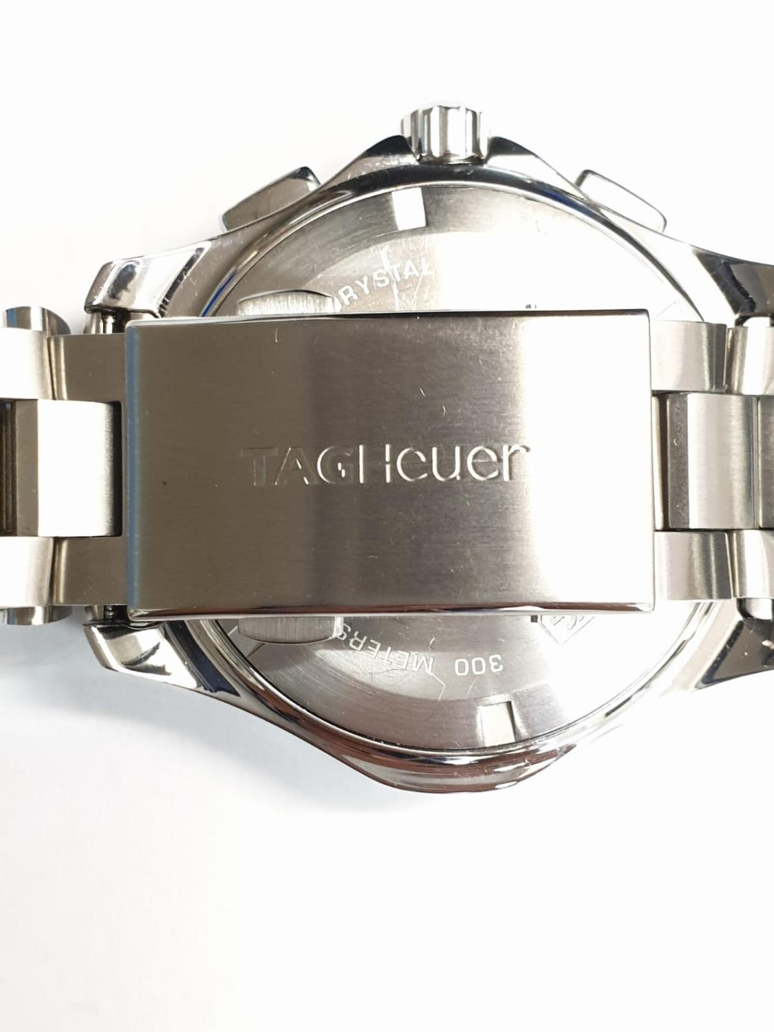 Tag Heuer gents chronograph Aquaracer watch, black face twisted bezel and steel strap, 44mm case - Image 6 of 14