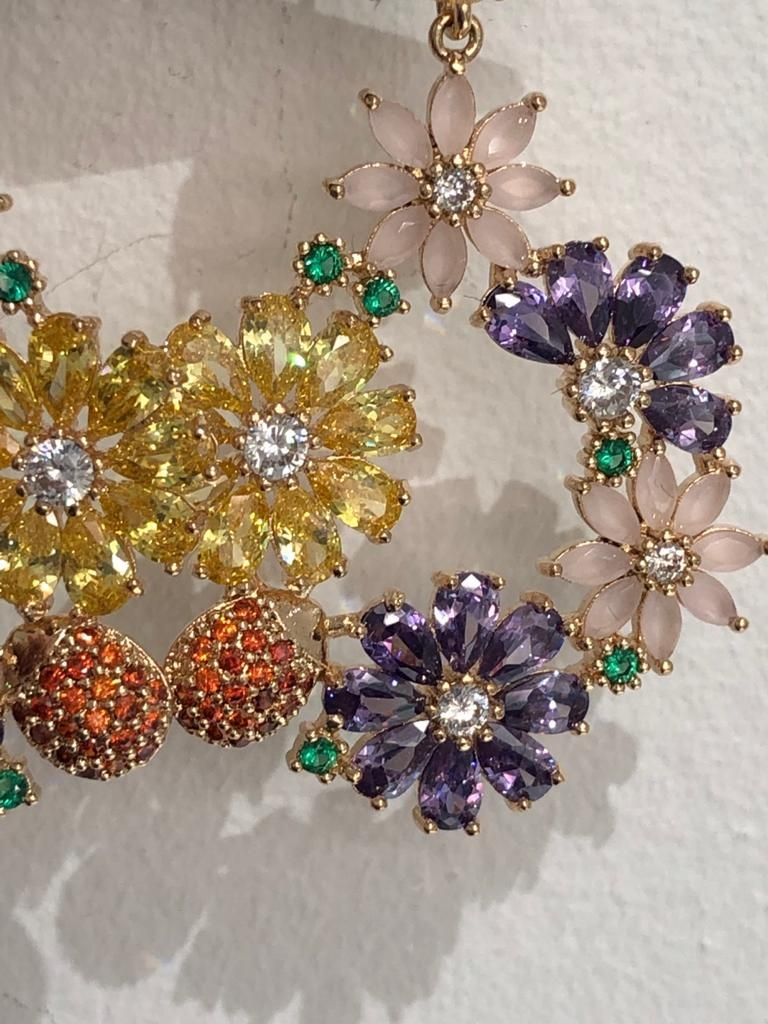 Pair of Earrings with multicoloured cz; copper in rhodium plating - Image 4 of 4