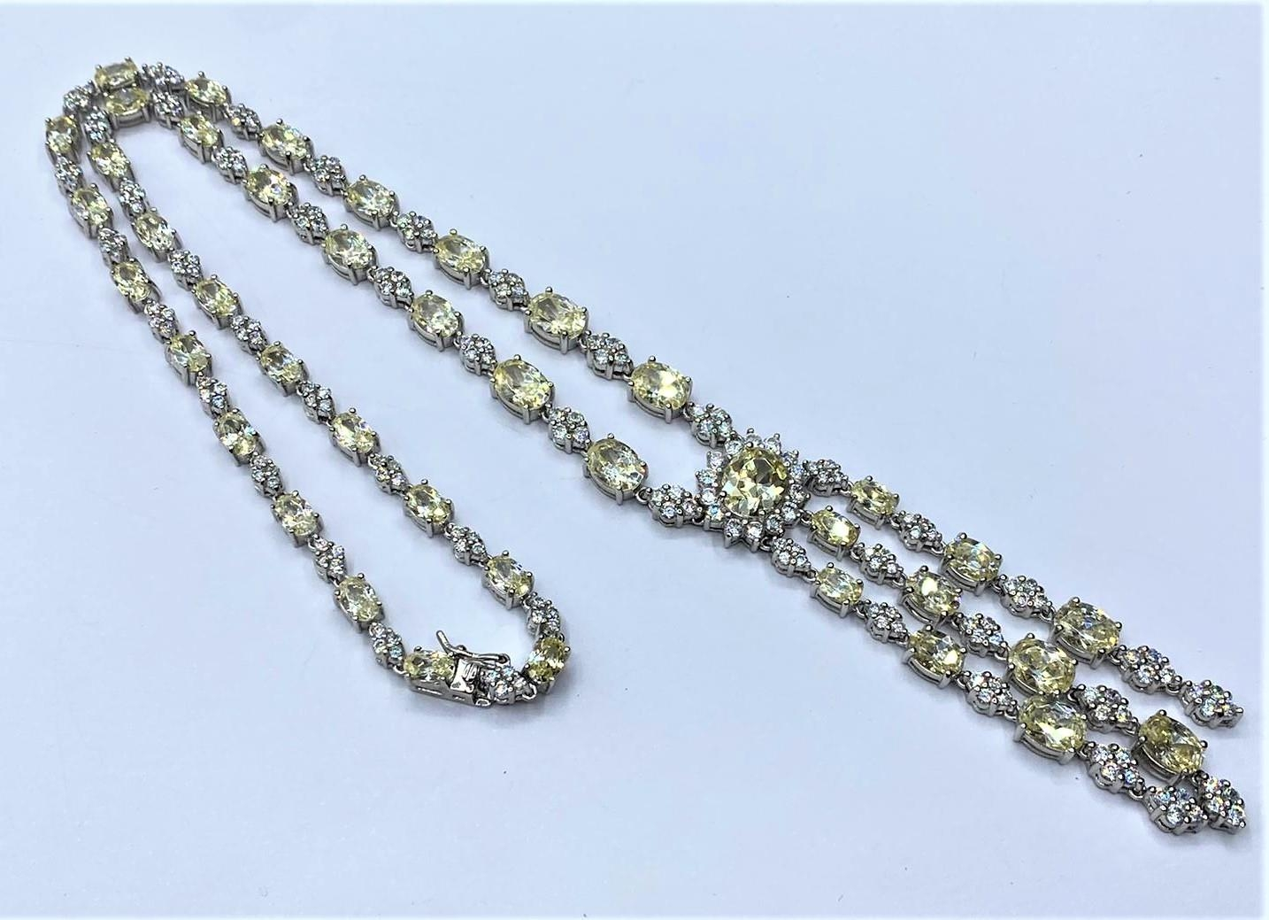 Silver heavy NECKLACE with white and yellow stones. 45.78g 40cm.