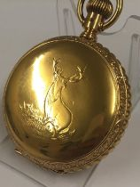 Antique large size 18ct gold filled full hunter pocket watch , stag case, 19th century lever set