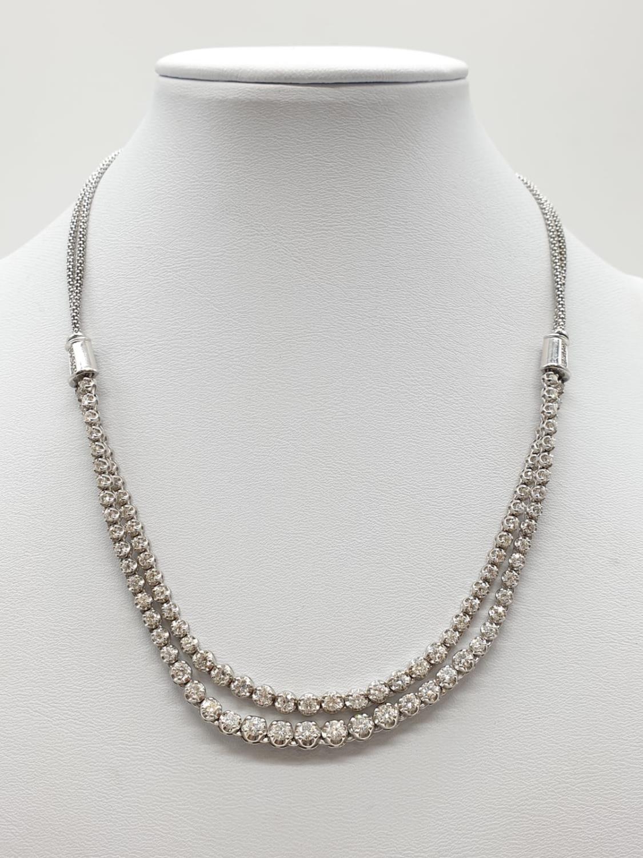 Platinum and Diamond Choker Necklace, double strand with graduated Diamonds (5ct Diamonds), 33g,