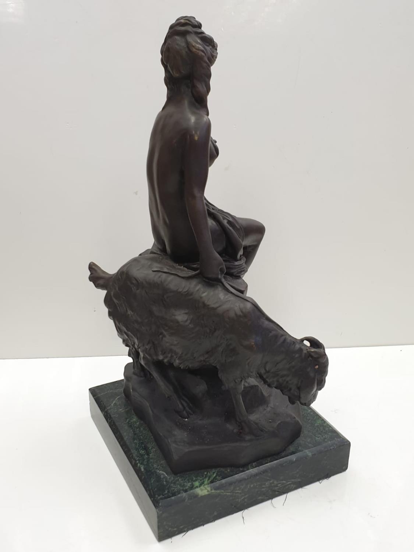 Bronze Pierre Julien figurine on plinth. 'Amalthea and Jupiter's Goat'. Height 45cm. Weight 9.7kg - Image 12 of 27