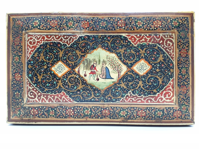 Persian Ghajari micro Mosiac box, 14x8.5cm - Image 2 of 5