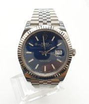 Rolex Oyster Perpetual Datejust gents chronometer watch with blue face and steel strap, 40mm case