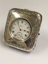 Antique sterling silver Waltham pocket watch & silver stand , good condition and good working