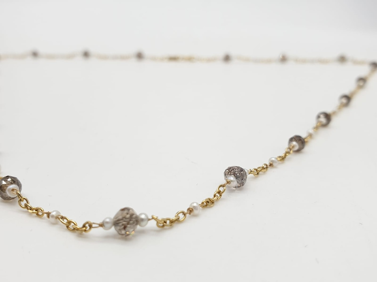 14ct gold brown diamond and pearl necklace with matching bracelet, total weight 5.6g and over 9ct - Image 5 of 6