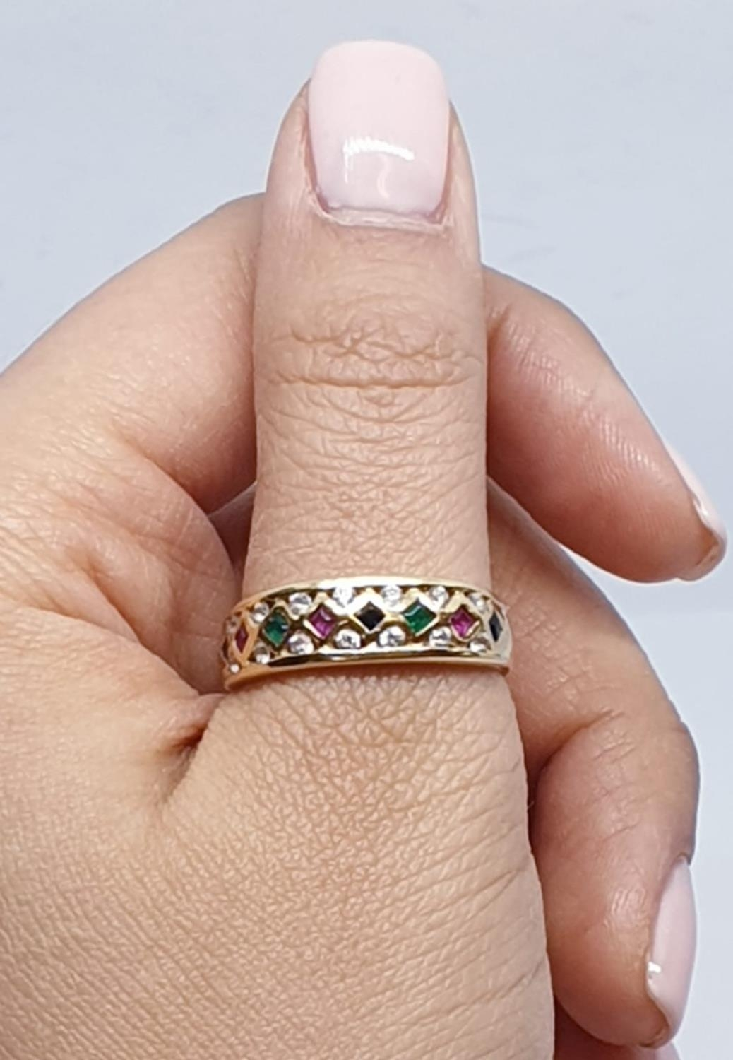18ct Yellow gold diamond ruby, sapphire and emerald set fancy ring. Weight 4.3g, Size S. - Image 8 of 10