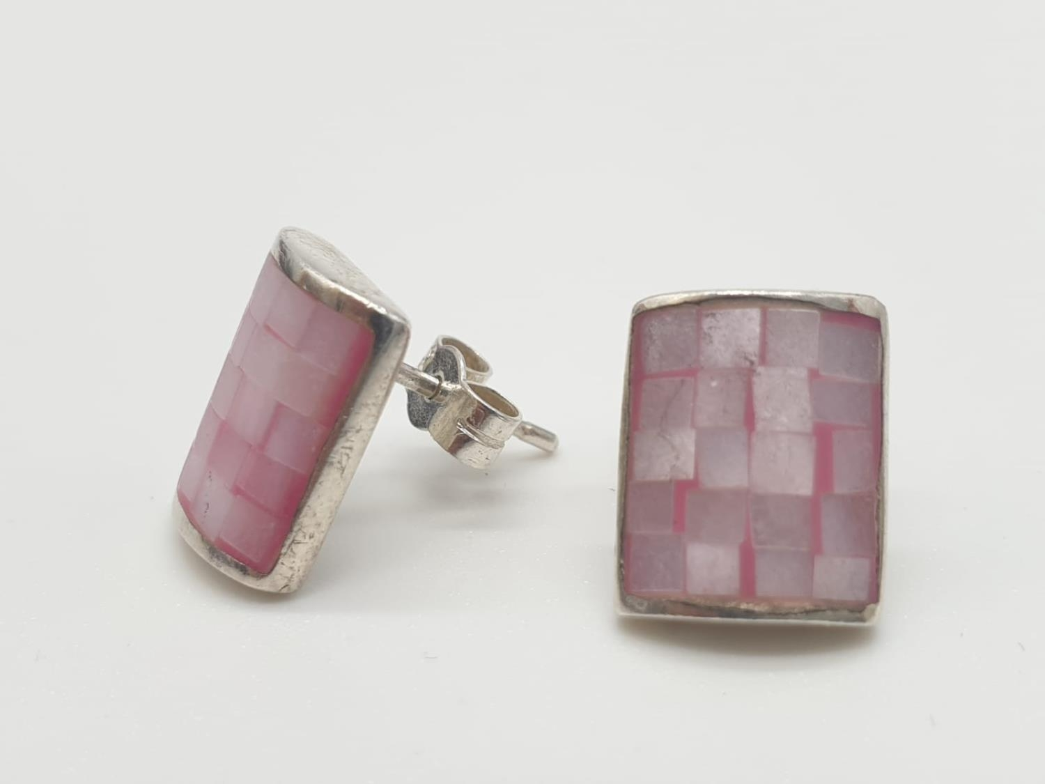 Silver stone set EARRINGS in rectangular form having pale pink mother of pearl brickwork pattern. - Image 2 of 3