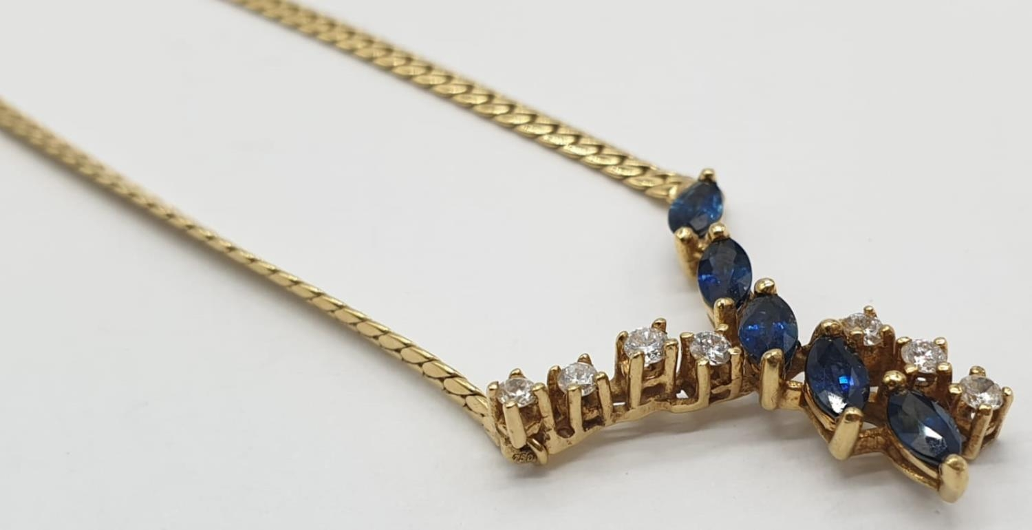 18ct Yellow gold diamond and sapphire collar style necklace Weight 8.8g, Approx.. 0.25ct of diamond. - Image 2 of 6