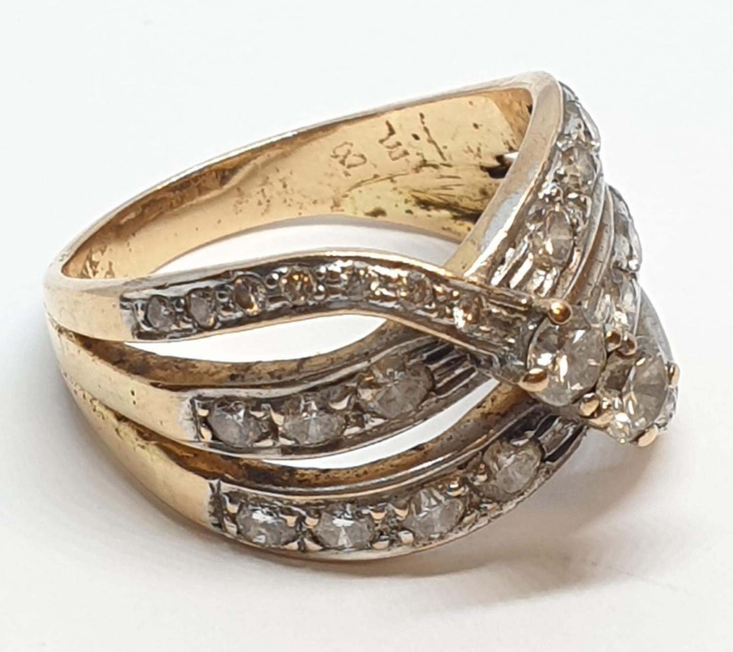 18ct Yellow gold diamond set fancy three row twist band ring. Weight 8.5g, Approx. 0.60ct of - Image 2 of 14