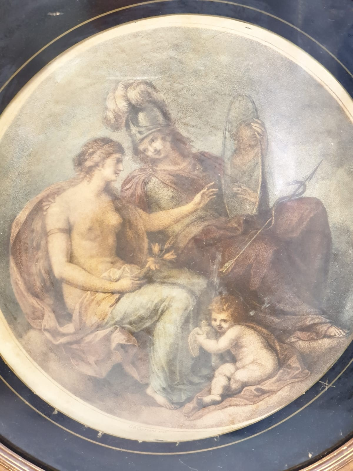 A very early Angelica Kauffman style print in circular gilt frame. 46cm in diameter. - Image 2 of 2
