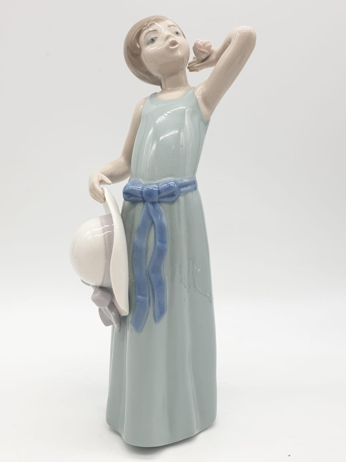 Lladro pair of youthful young girls. 26cm tall. - Image 2 of 12