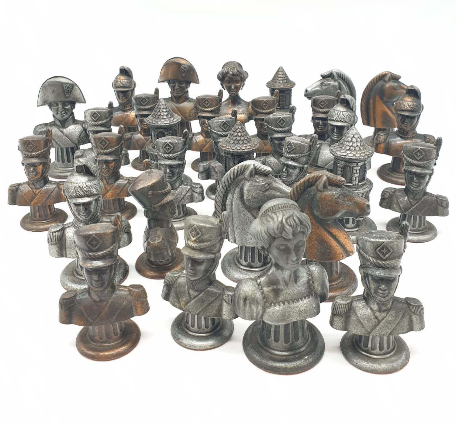 Metal CHESS SET Napoleonic Themed pieces. Napoleon 7.5 cm tall. Play on a square 3.5 cm.