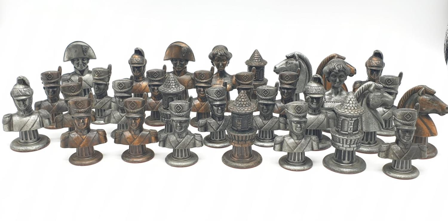 Metal CHESS SET Napoleonic Themed pieces. Napoleon 7.5 cm tall. Play on a square 3.5 cm. - Image 4 of 38