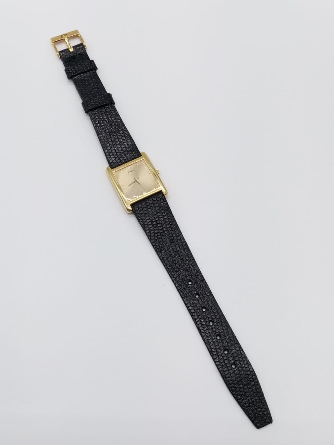 Vintage Plaget 18ct gold ladies watch with square face (22mm) and leather strap - Image 5 of 10