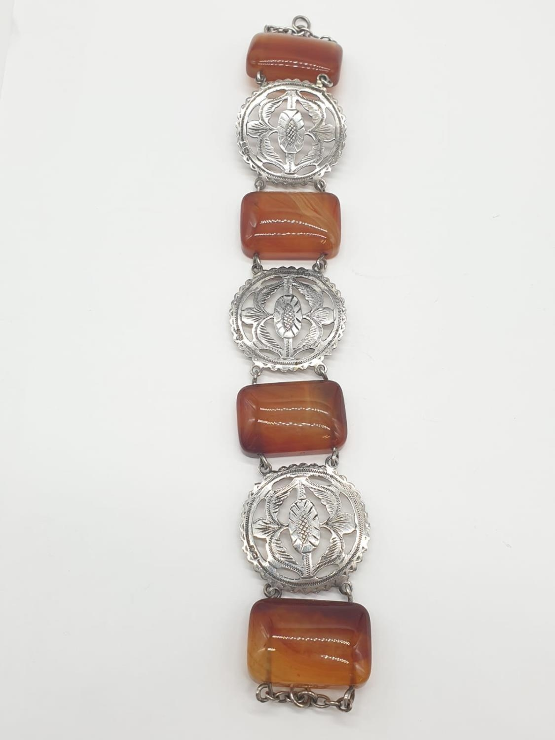 Large Silver agate Scottish bracelet, weight 70g and 22cm long and 3cm wide - Image 3 of 5