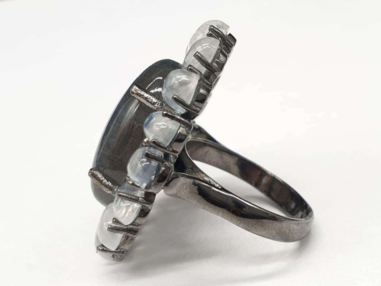 10.50 Ct Moonstones & 14.25 Ct Labradorite set within a blackened silver ring, weight 11.62g and - Image 3 of 7