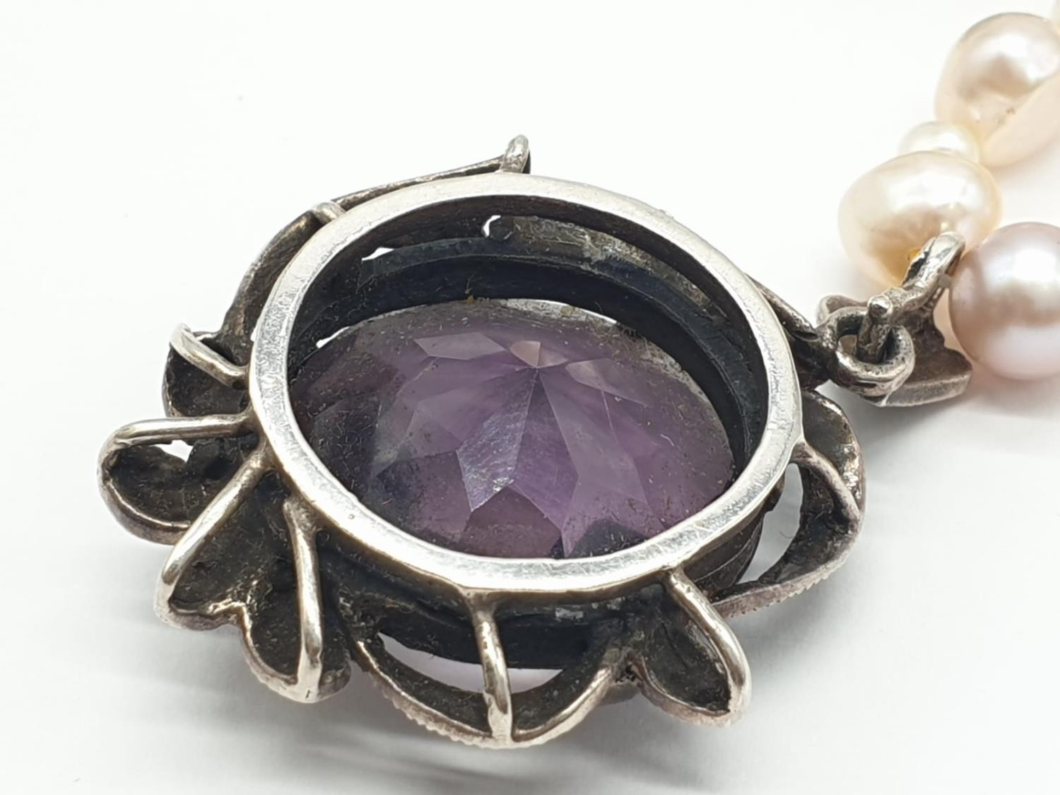 Amethyst and Marcasite NECKLACE with Freshwater Pearl and Silver setting. 40g 44cm - Image 5 of 8