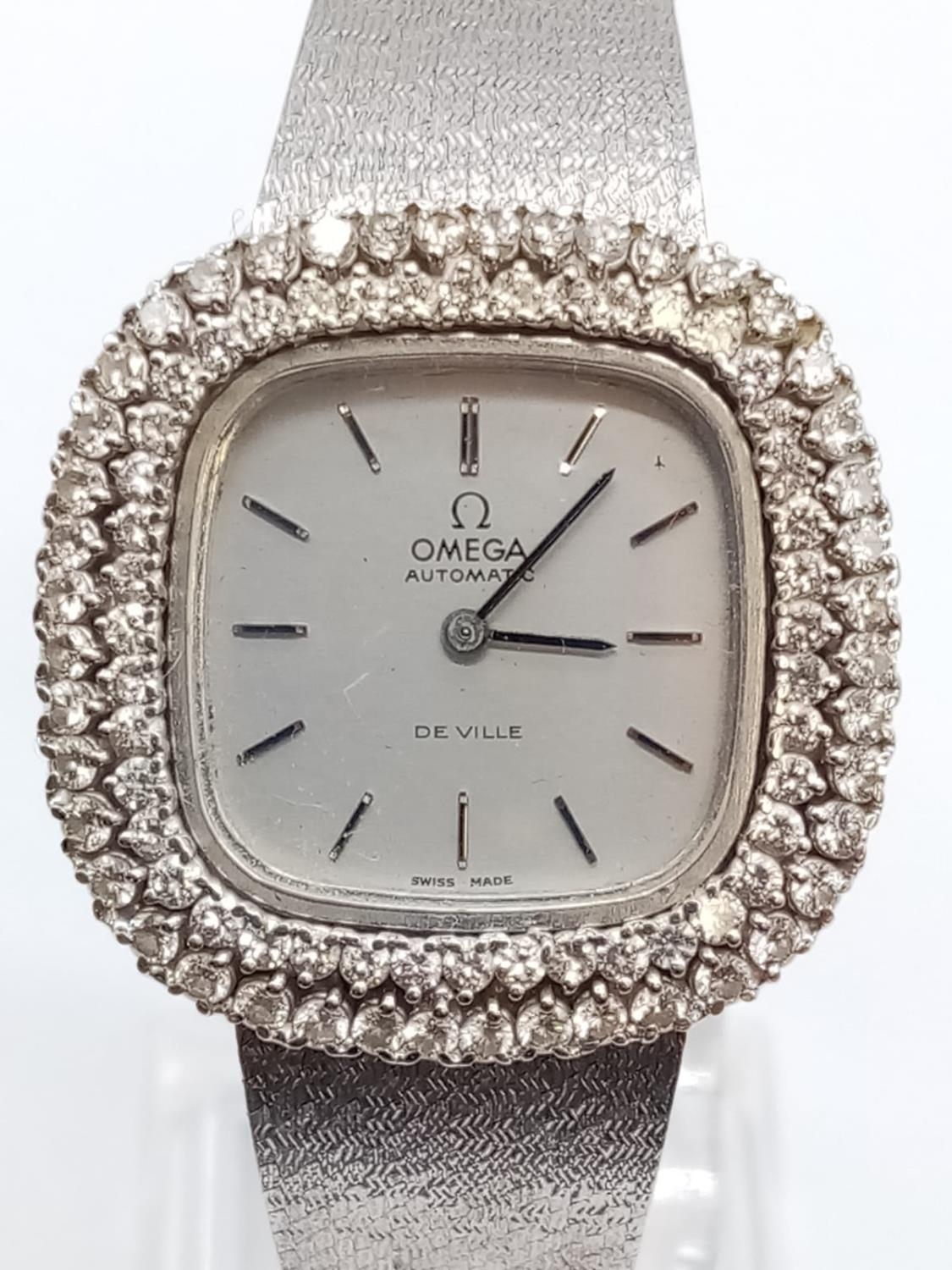 Vintage 18ct white gold OMEGA de Ville ladies automatic watch, square face with diamond encrusted - Image 2 of 7