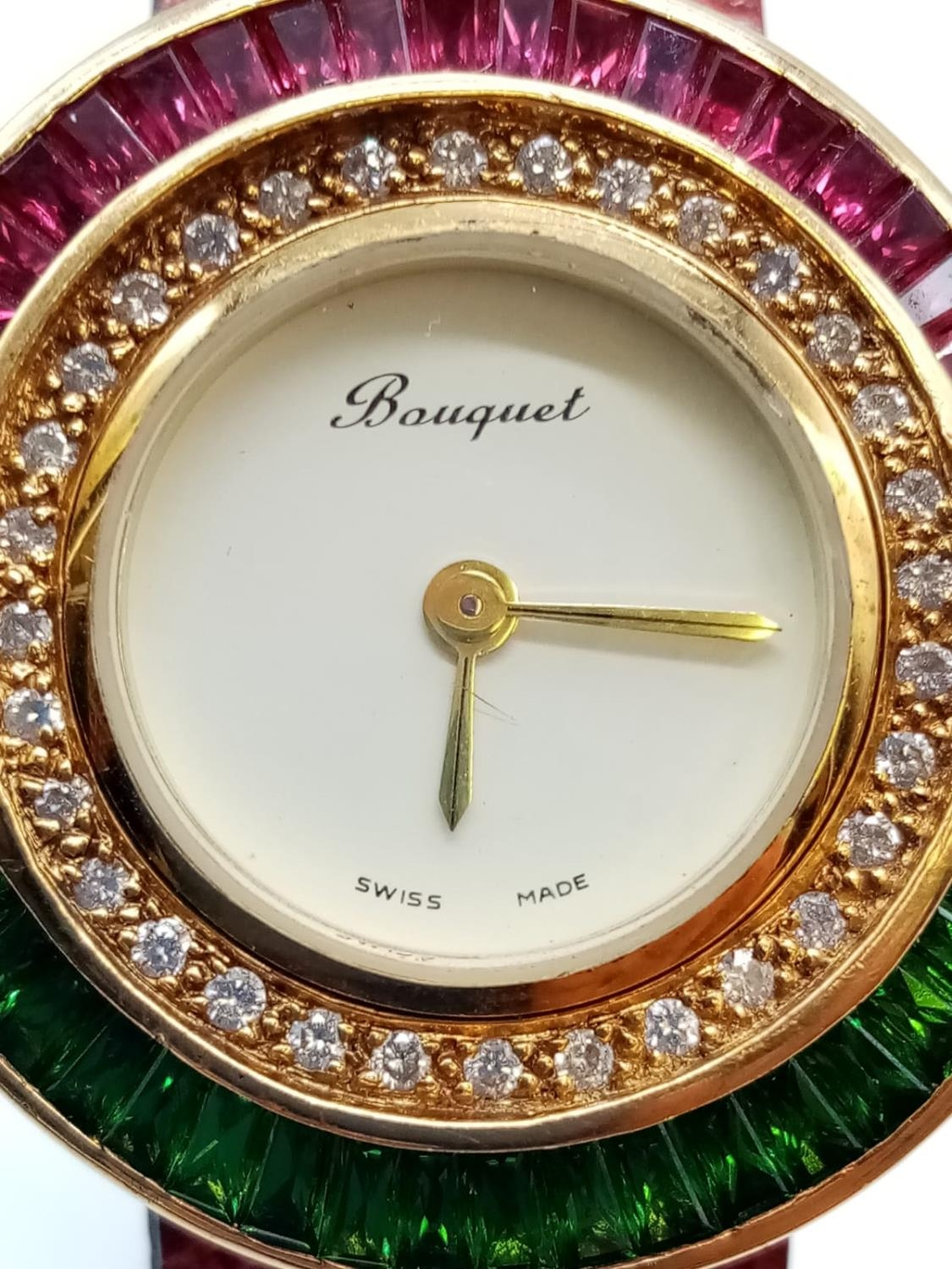 Vintage Bouquet 18ct gold ladies dress watch, round face with emerald, ruby and diamonds surround, - Image 3 of 9