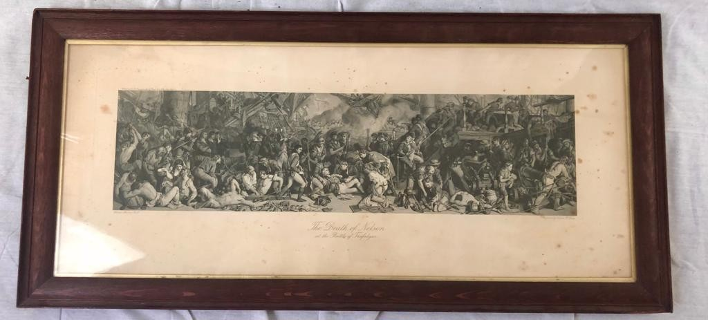 An engraving by Charles W. Sharpe- The Death of Nelson at the Battle of Trafalgar, based on the