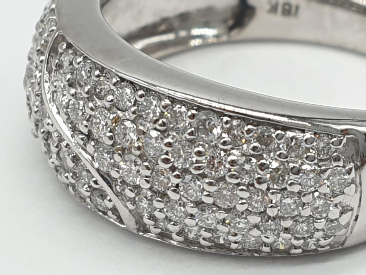 18ct diamond encrusted stylist ring. Weighs 5.6g and is a size O. - Image 2 of 7