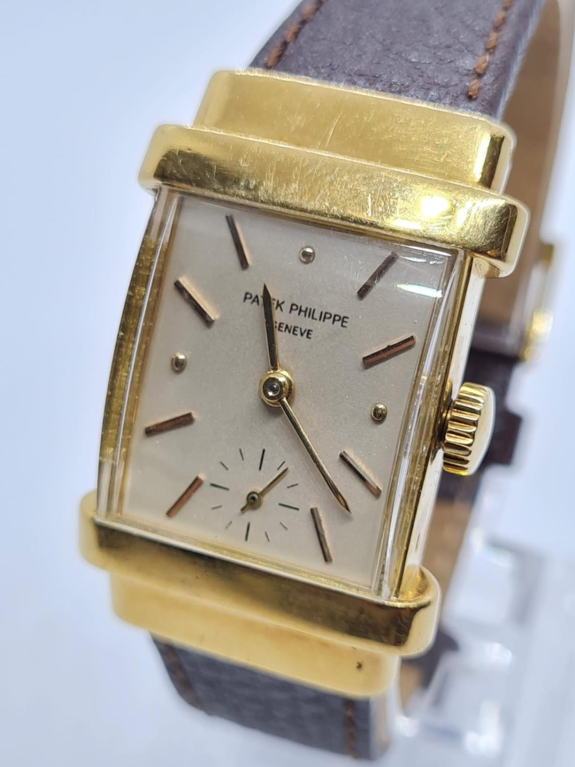 Patek Philippe Geneve WATCH tank style with rectangular face Case: 20x40mm. Brown Leather Strap. - Image 2 of 5