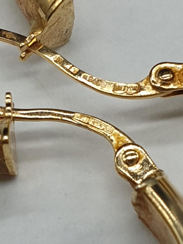 9ct Gold Hoop Earrings 3.7g - Image 3 of 3