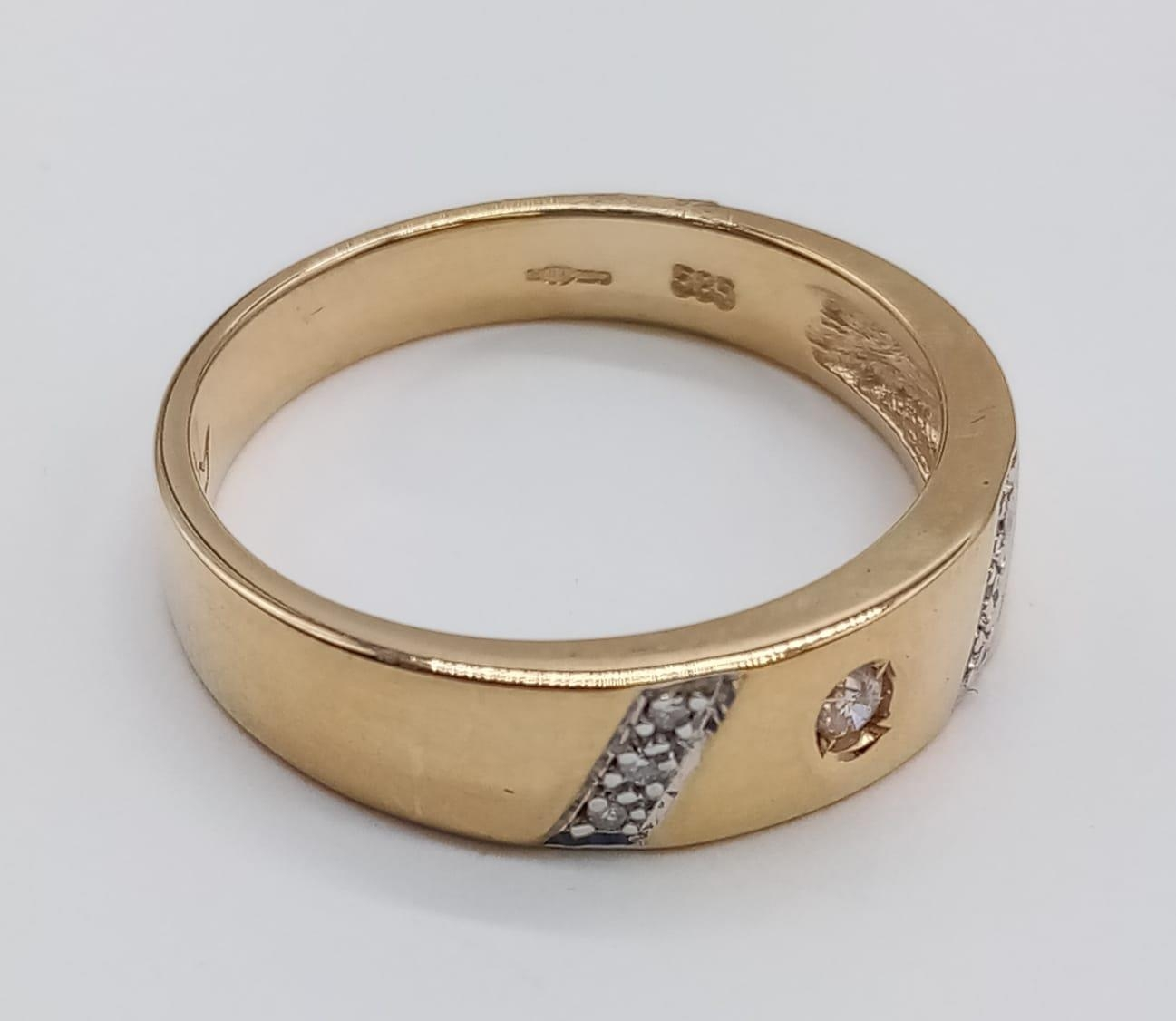 14CT Yellow gold DIAMOND SET BAND RING, weight 3.9G and size P - Image 2 of 6