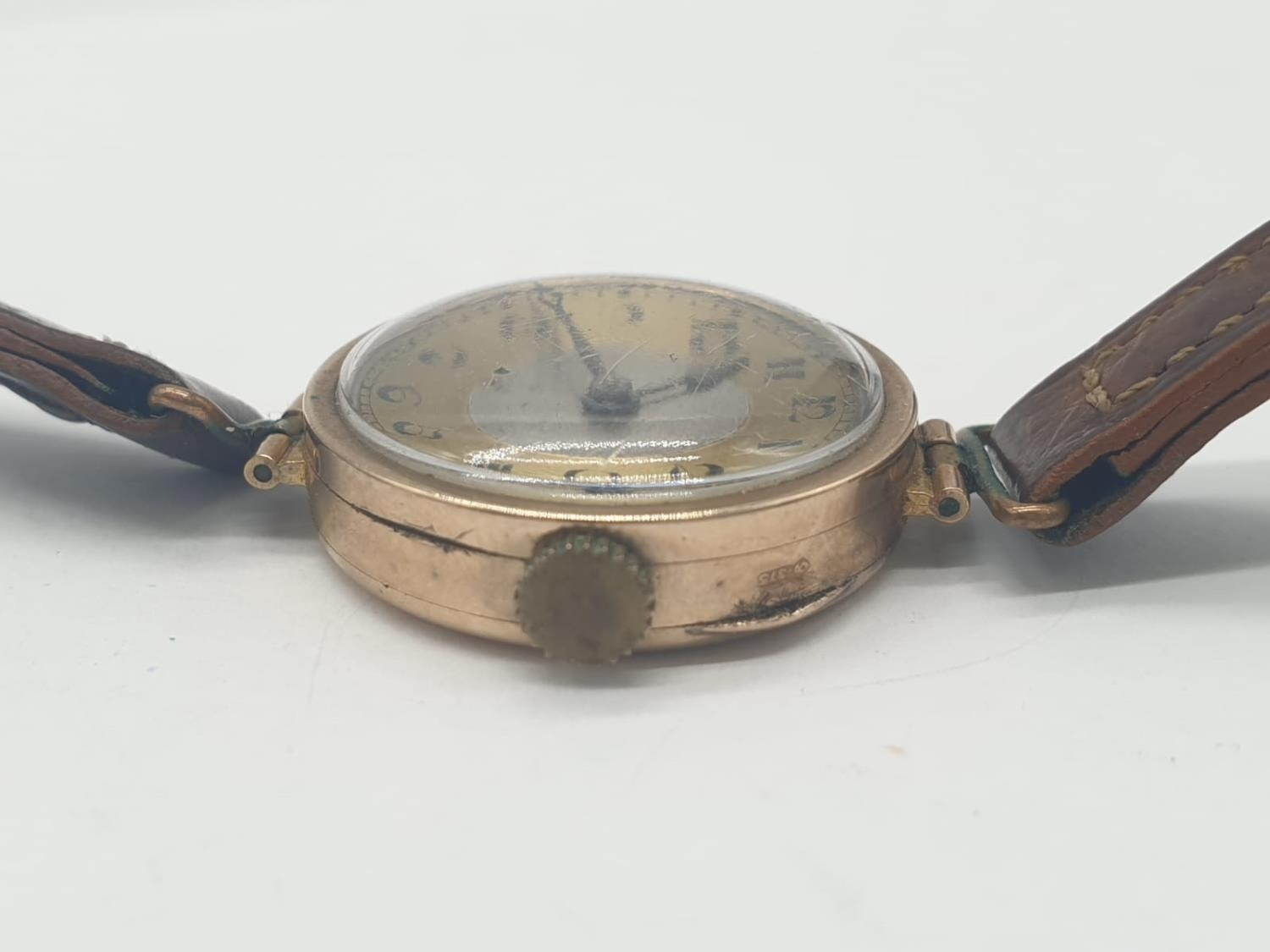 Vintage 9ct gold ladies wrist watch with leather strap - Image 8 of 9