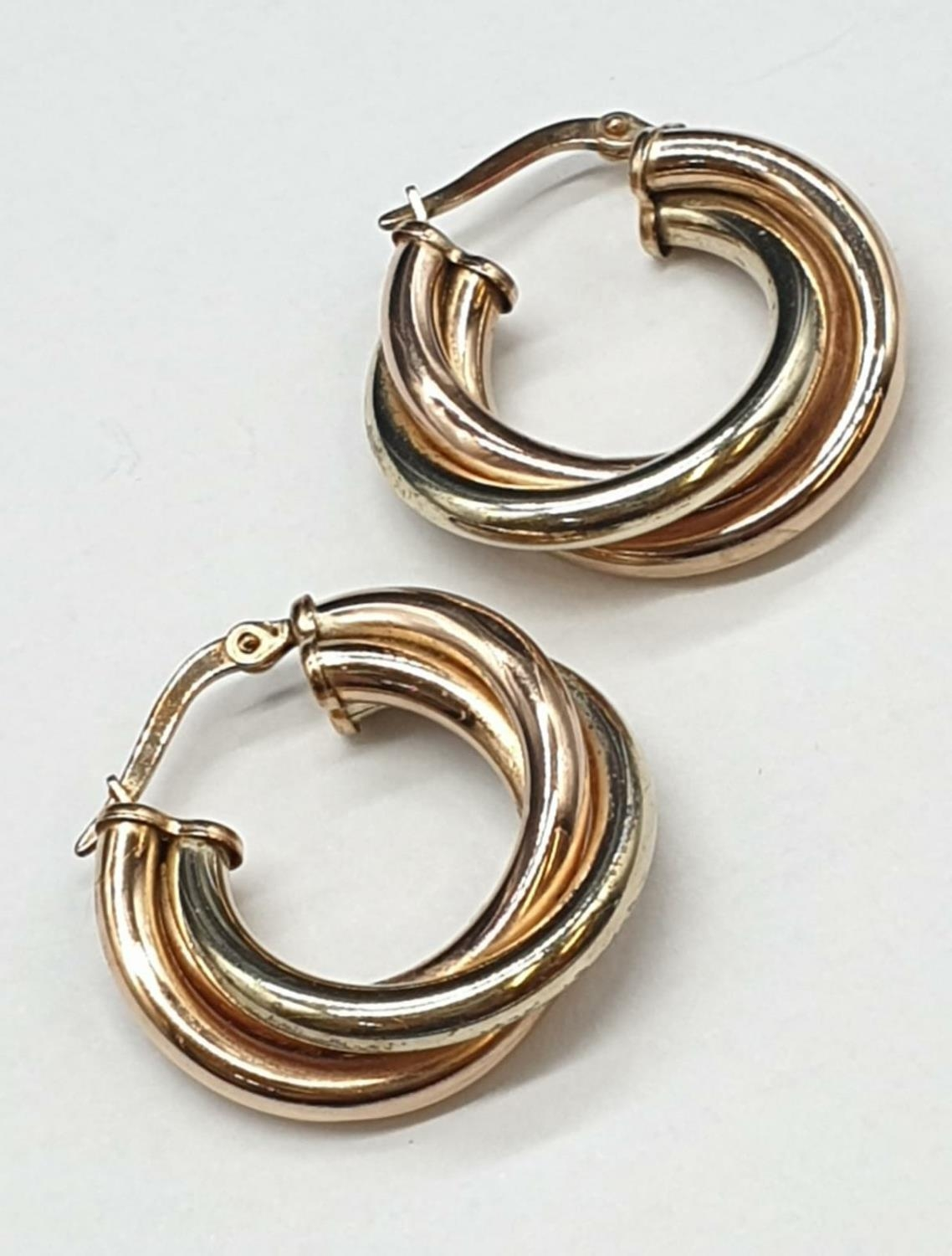 9ct 3 colours Gold Earrings 3.4g